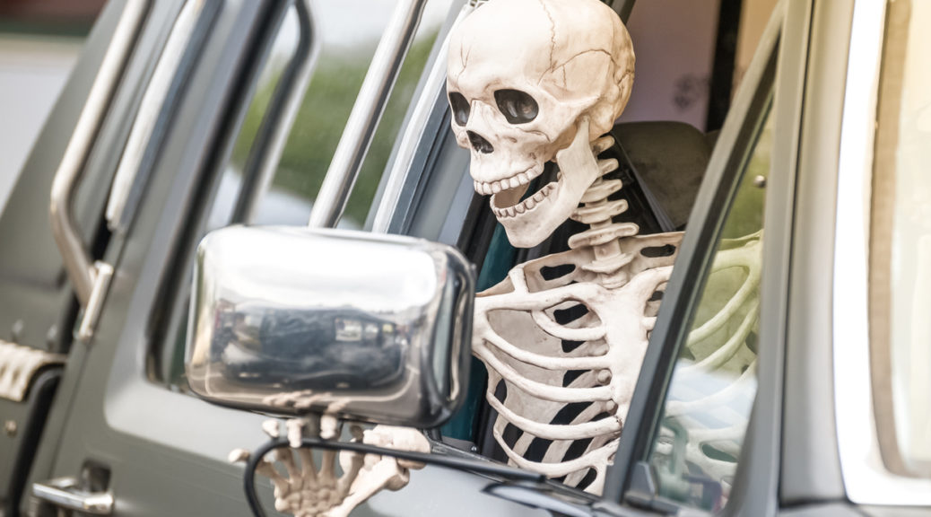 Skeleton Driving Safely on Halloween