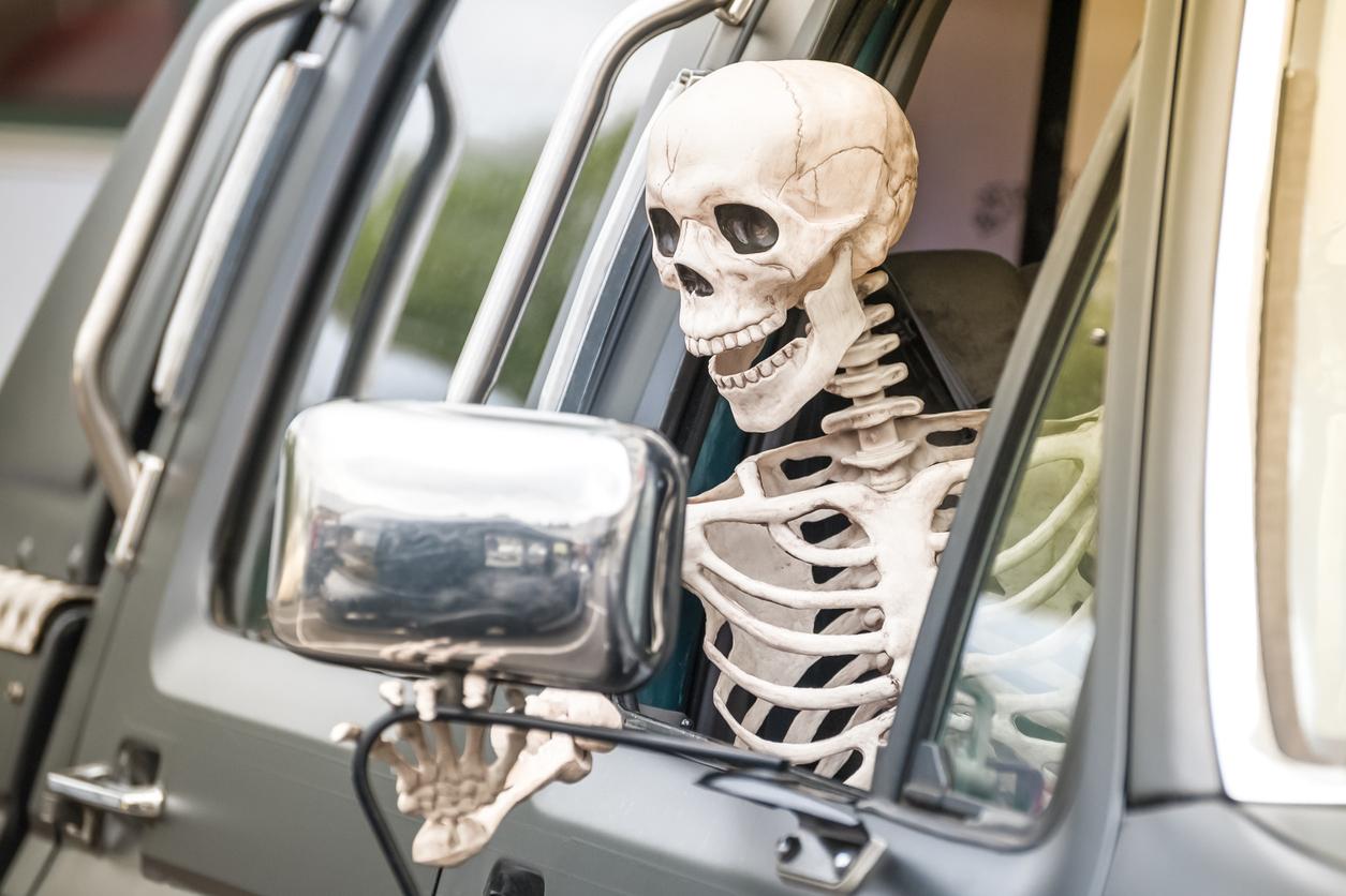 Skeleton Driving Safely on Halloween